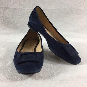 Talbots Avery Indigo Blue Buckle Suede Flats - 7M